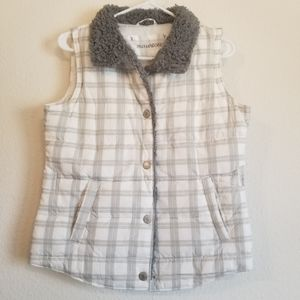 Maurices White and Grey Plaid Sherpa Lined  Puffer Vest